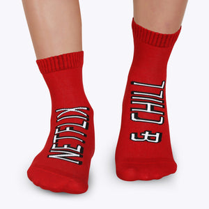 NETFLIX & CHILL RED SOCKS - Coral Tree