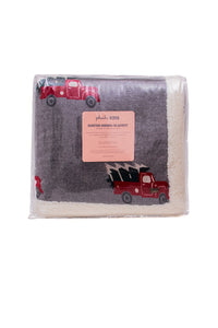 Christmas Truck- Light Grey Red, & Charcoal Green Color Front Cotton Knitted with Sherpa Back Blanket / Throw for Kids - Coral Tree