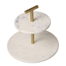 "Load image into Gallery viewer, 2-Tier 10"" Brass and Marble Cake Stand Tea Party Pastry Serving Platter"