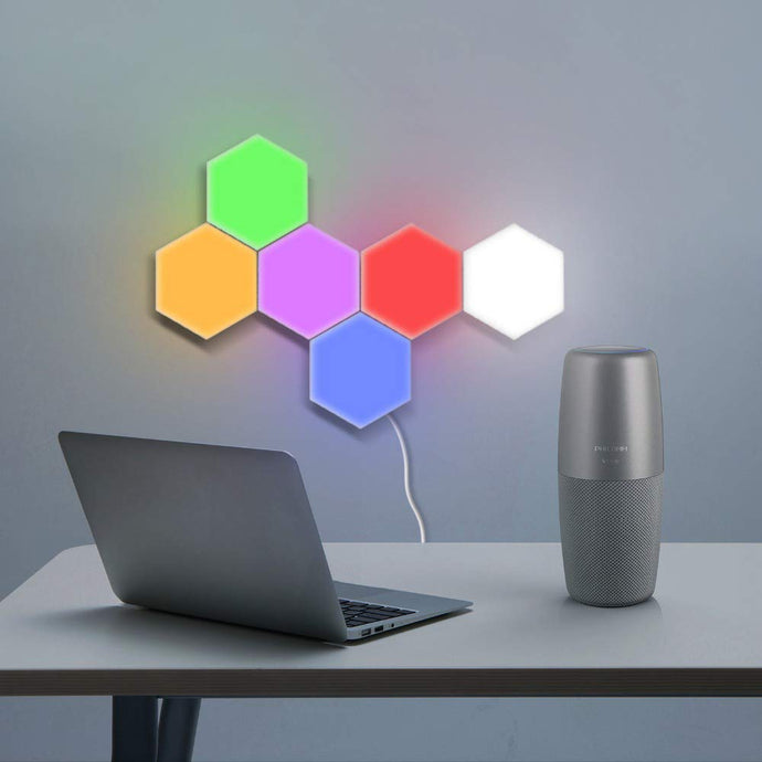 Hexagonal Wall Light, Touch Sensitive LED Night Light with Power Adopter (RGB) - Pack of 5 - Coral Tree