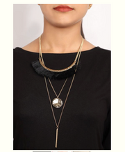 Load image into Gallery viewer, 3 layer Black Tussle necklace - Coral Tree