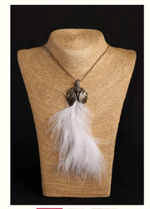White peacock feather pendent - Coral Tree