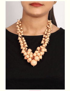 peach beads necklace - Coral Tree