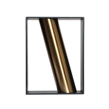 Load image into Gallery viewer, Coral Tree Vertical Metal Rectangle Vase with Diagonal Pattern Brass Pipe (Black)