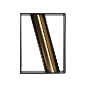 Coral Tree Vertical Metal Rectangle Vase with Diagonal Pattern Brass Pipe (Black)