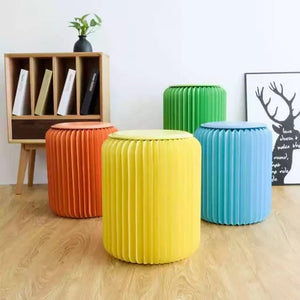 Craft Paper Stool with PU Cushion - 42 CM Heigh - Folded Like A Book for Space Saving