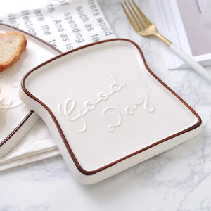 Creative Ceramic Toast Shaped Dinner Plate Porcelain Bread Morning Plate - Coral Tree