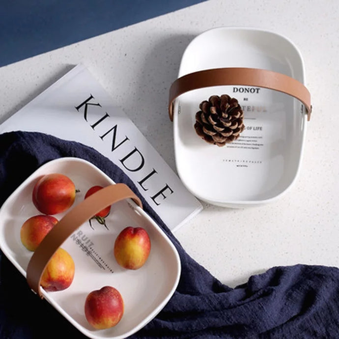 LEATHER HANDLE CERAMIC FRUIT TRAY -WHITE - Coral Tree