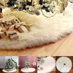 CHRISTMAS TREE SKIRT - FAUX FUR CHRISTMAS TREE MAT - Coral Tree