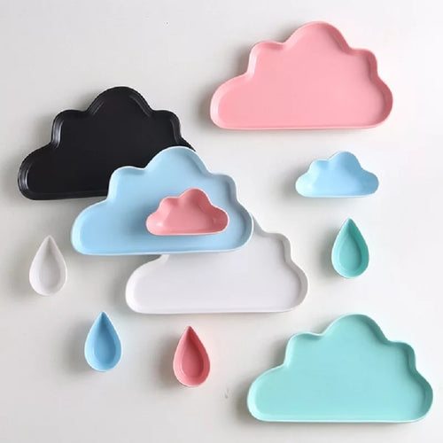 Kids Ceramic platter in Cloud and Rain Drop - Coral Tree