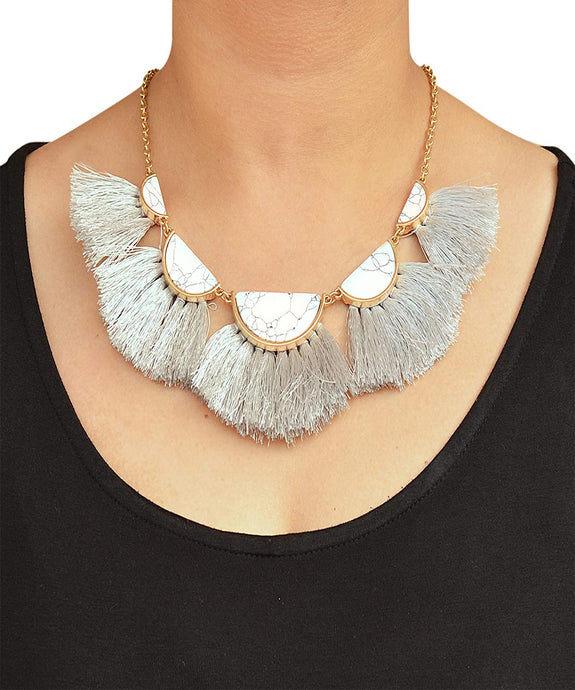 White Semi Circle Marble Necklace with Thread Tassels Jewellery for Women