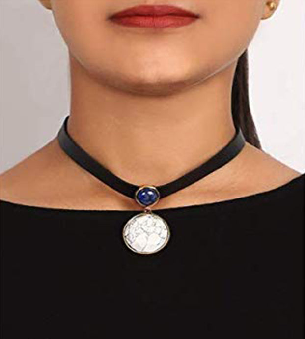 White Stone Choker Necklace Jewellery for Women