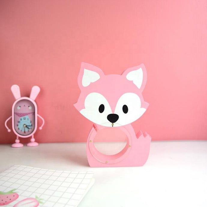 Wooden Pink Crafts Fox Shape Piggy Bank Room Decoration Clear Coin Money Saving Box
