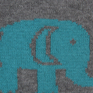 Baby Elephants - Heather Grey & Blue Color Cotton Knitted Caps for Baby / Infant for Use In All Seasons - Coral Tree