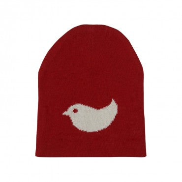 Birdie - Red & Ivory Cotton Knitted New Born /Baby Cap / Hat for Use In All Seasons - Coral Tree