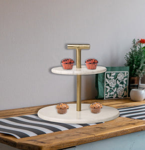 "2-Tier 10"" Brass and Marble Cake Stand Tea Party Pastry Serving Platter"