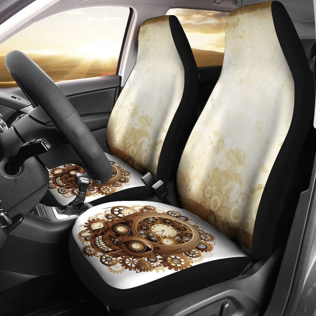 Steampunk Golden Skull Car Seat Covers