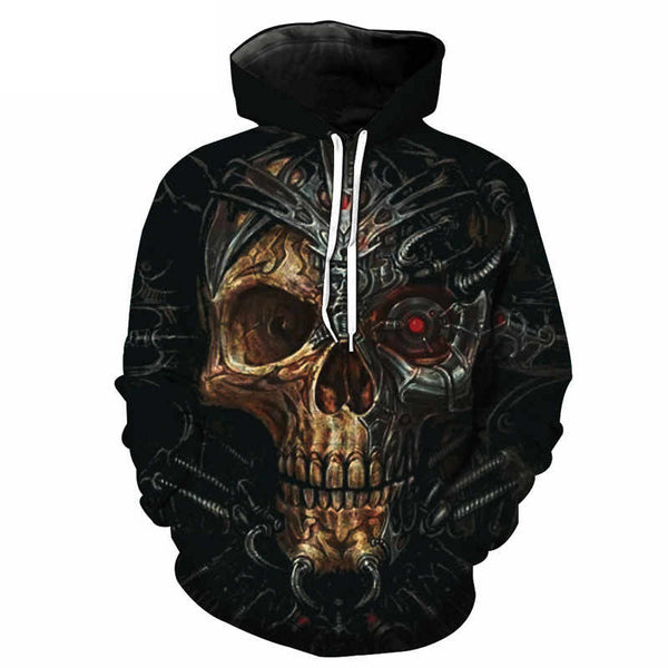 3D Melted Cyber Skull Pullover Hoodie