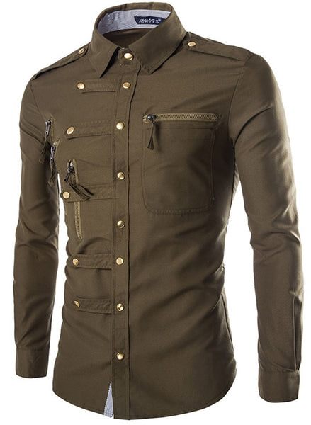 Steampunk Slim Fit Double Pocket Buttons Design Military Cargo Dress Shirt