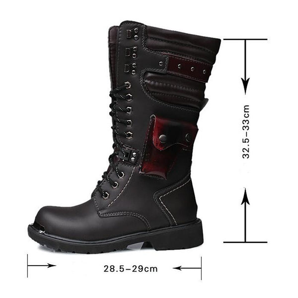 Men's Punk Pocket Lace Up Faux Leather Army Boots