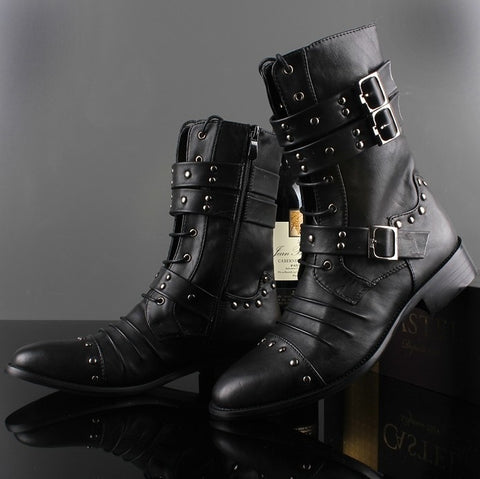 Punk Steel Studs Zipper Men Pointed Ankle Boots