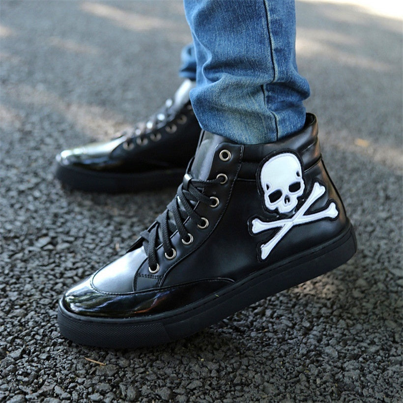 Skull Goth Punk Casual Suede Leather Men Shoes