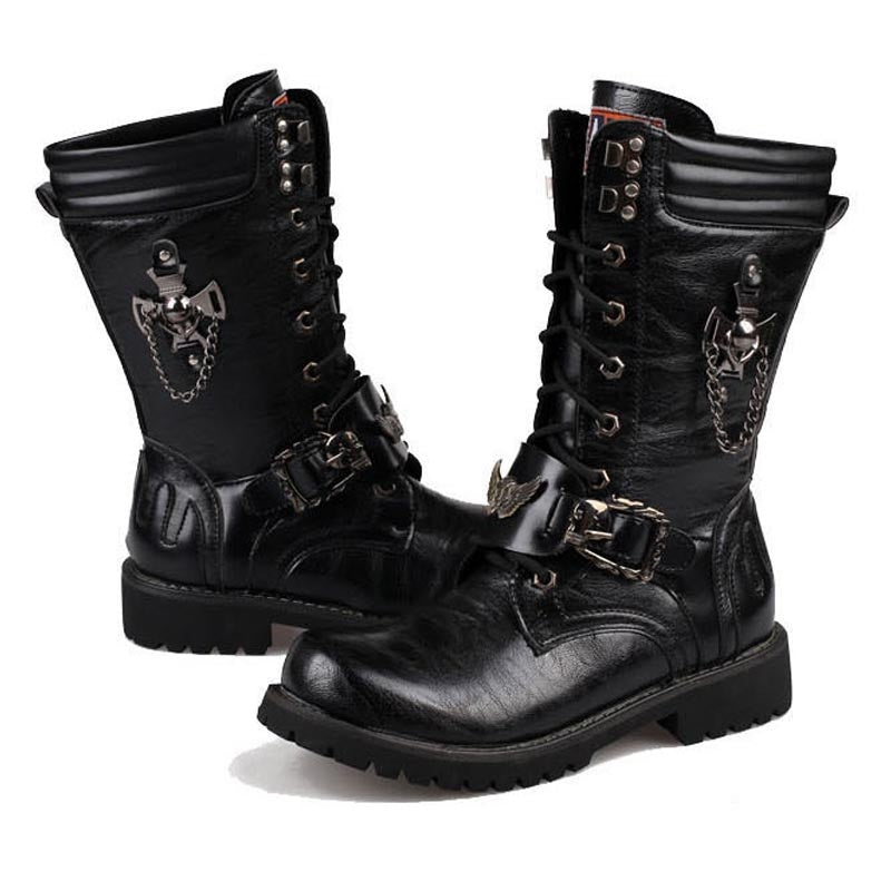 Army Military Combat Leather Motorcycle Punk Boots