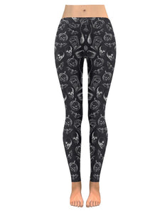 Witch Halloween Skulls & pumpkin Women Black Leggings