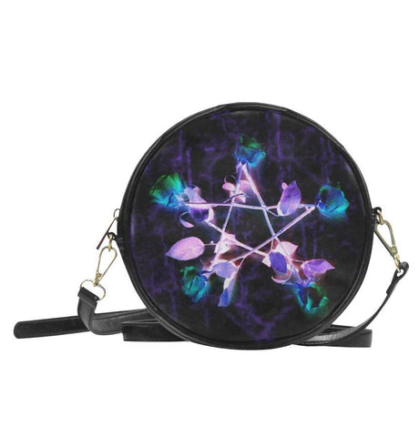 Witch Roses Pentagram Black Round Bag
