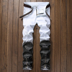 Distressed Zipper Biker White&Black Men Denim Jeans