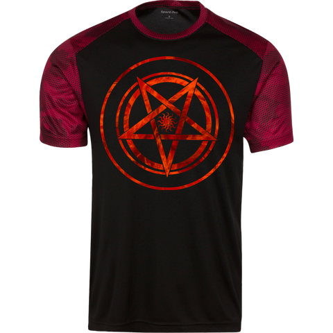 Red Pentagram Men Premium Sport-Tek CamoHex T-Shirt