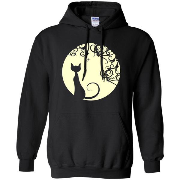 Black cat in the moon  Unisex Pullover Hoodie