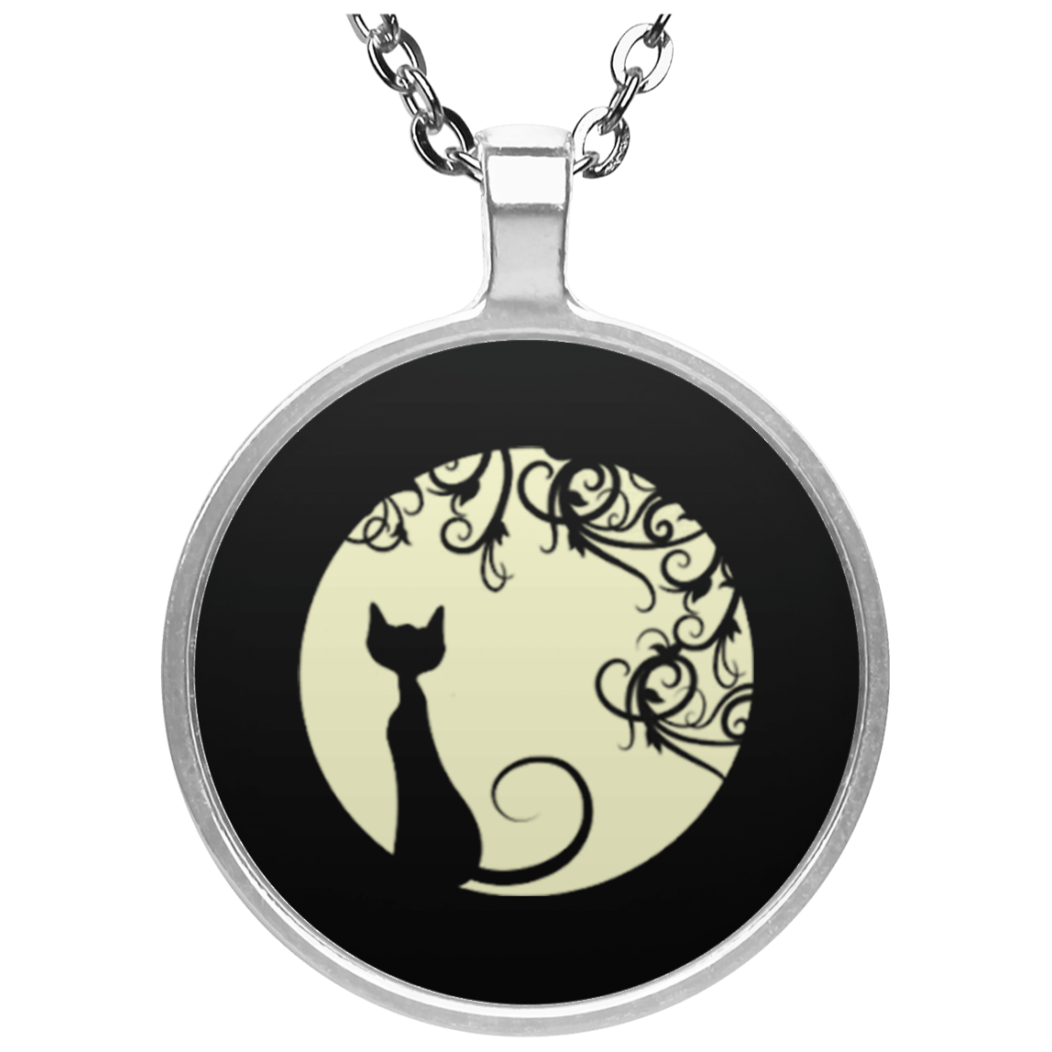 Black cat in the moon  Circle Necklace