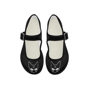 Satanic Cat Pentagram Goth Lolita Flat Shoes