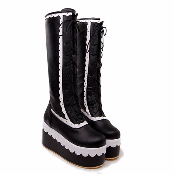 Gothic Punk Knee High Boots Wedge