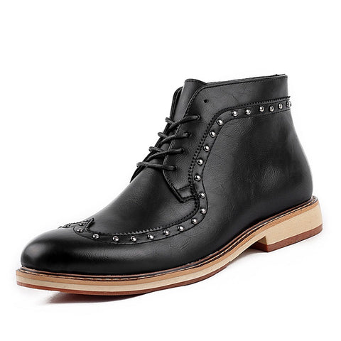 Leather Brogue Shoes Pointed-Toe Men Casual Shoes