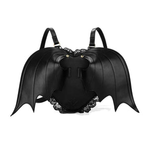 Leather Gothic Black Bat Wings Heart School Bag