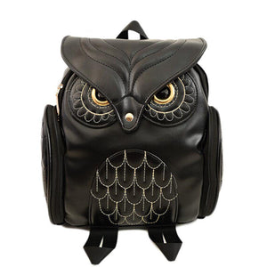 Owl Black Leather Bag School