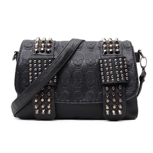 Punk Gothic Skull Rivets Black Leather Shoulder Bag