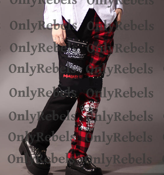 Punk Zippers Rivets Half Black Half Plaid Graffiti Skull Men Pant