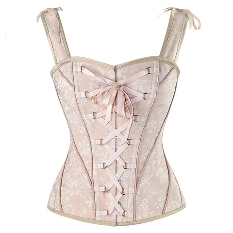 Steampunk Vintage Retro Lace Up Floral Women Corset (Plus Size)