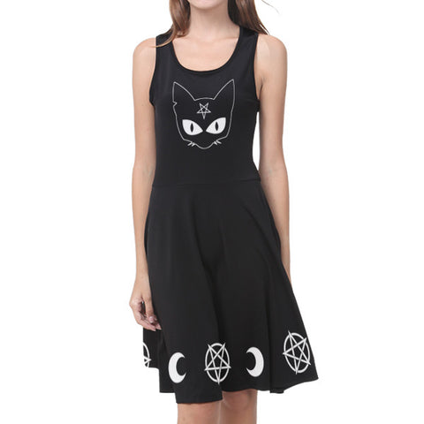 Satanic Cat Pentagram Women Dress
