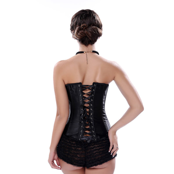 Black Rhinestone Satin Lace Up Overbust Women Corset
