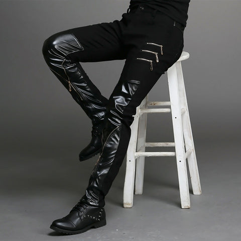 Gothic Punk Black Leather Zipper Men Pant