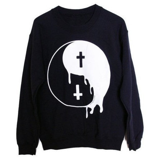 Gothic Punk Tao Yin Yang Cross Women Sweatshirt