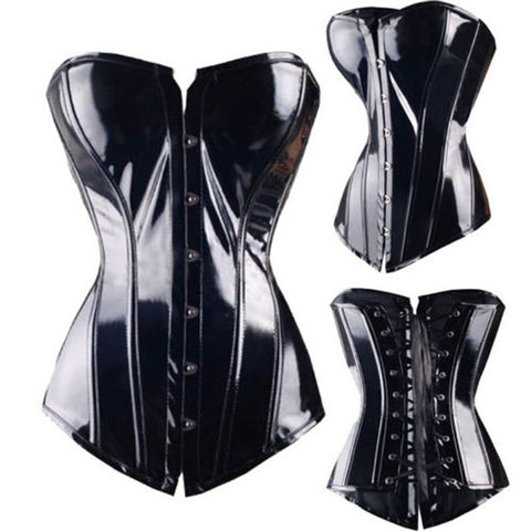 Black Goth Fetish Overbust Lace up Corset