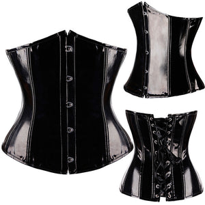 Black Goth PVC Lace up Underbust Corset