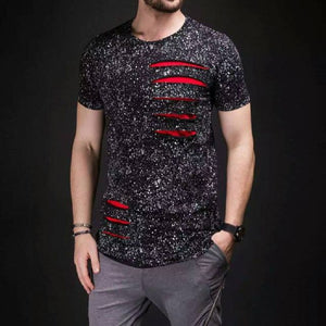 Ripped Ink Hole Avant Garde Streetwear Men T-Shirt