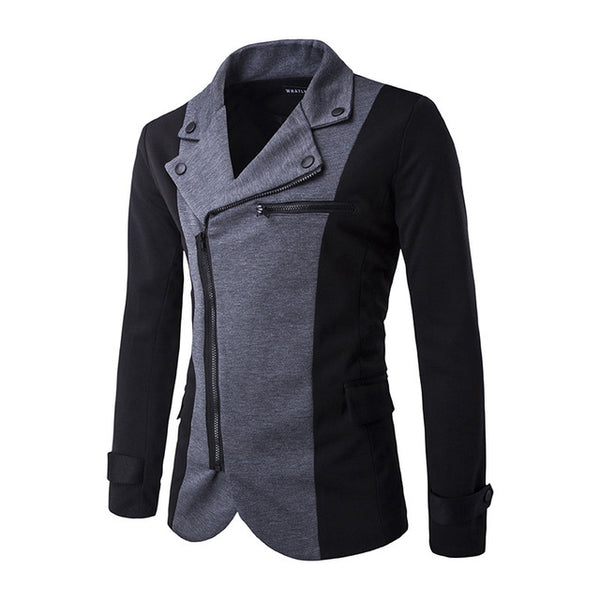 Steampunk Goth Patchwork Diagonal Zipper England Style Slim Suit Men Jacket