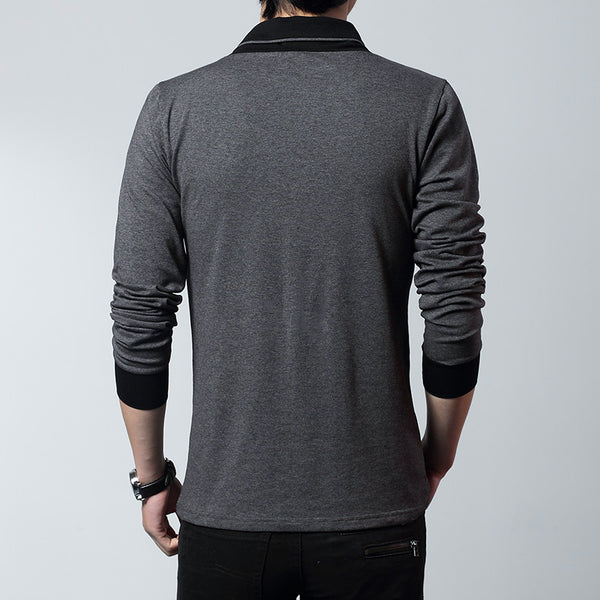 Double Colors Casual Long Sleeve Men T-Shirt